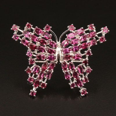 Sterling Silver Garnet Butterfly Ring