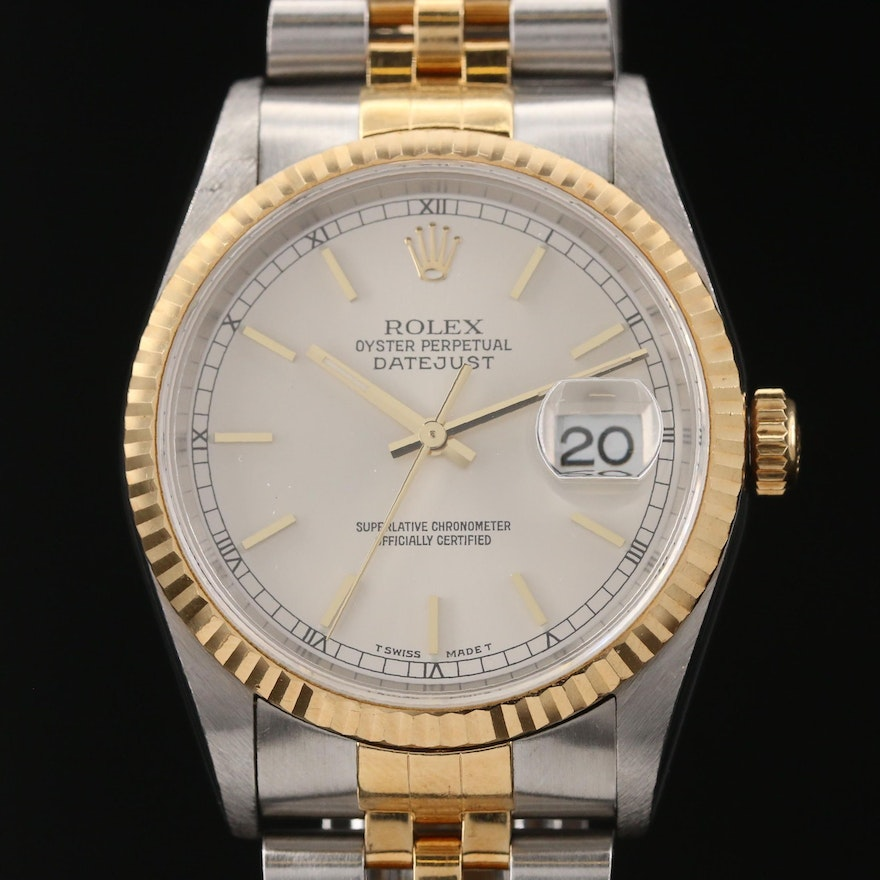 1997 Rolex Datejust 18K Gold and Stainless Steel Automatic Wristwatch
