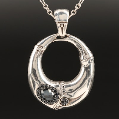 John Hardy Sterling Quartz and Sapphire Bamboo Motif Enhancer Pendant Necklace