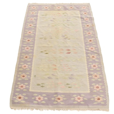 4' x 6'6 Handwoven Floral Wool Rug