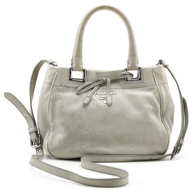Prada Gray Leather Two-Way Top Handle Bag