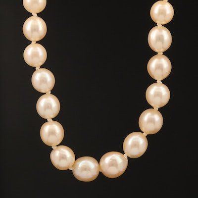 Vintage Graduated Akoya Pearl Necklace with 14K Clasp and GIA Report