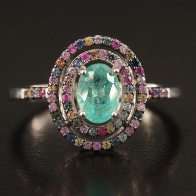 Sterling Silver Emerald and Sapphire Double Halo Ring