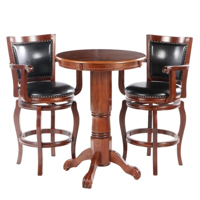 Contemporary Mahogany Veneer Bar Height Table with Two Bar Chairs