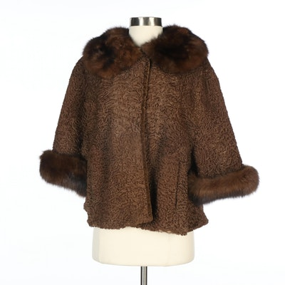 Brown Persian Lamb Jacket with Marten Fur Trim