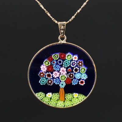 Sterling Silver Millefiori Glass Pendant Necklace