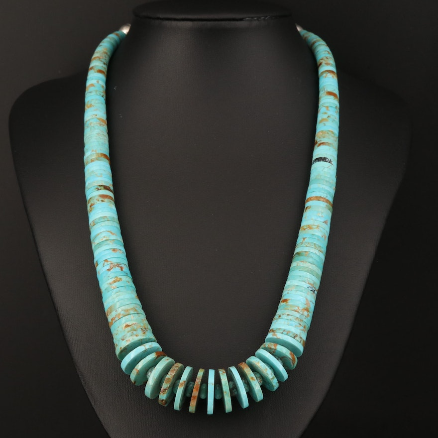 Sterling Silver Graduated Turquoise Heishi Necklace