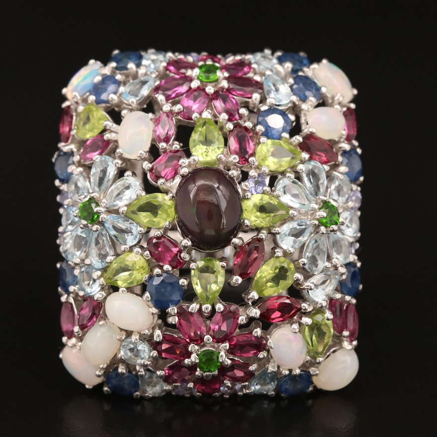 Sterling Silver Opal, Sapphire, Garnet and Peridot Floral Motif Ring