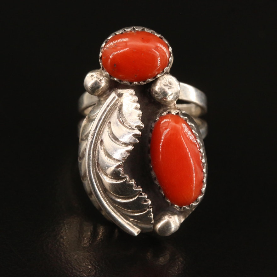 Western Sterling Coral Ring