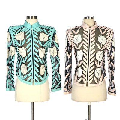 Image Leather Pink and Turquoise Mesh and Floral Leather Cutout Trimmed Jackets