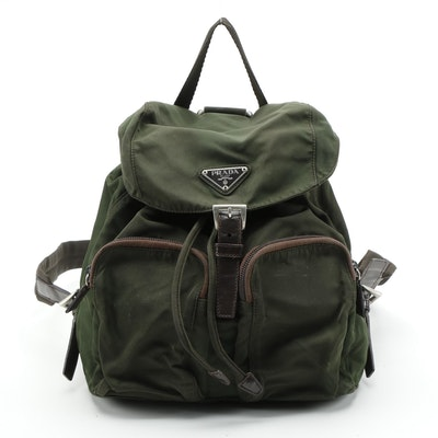 Prada Backpack in Dark Green Tessuto Nylon with Canvas Straps