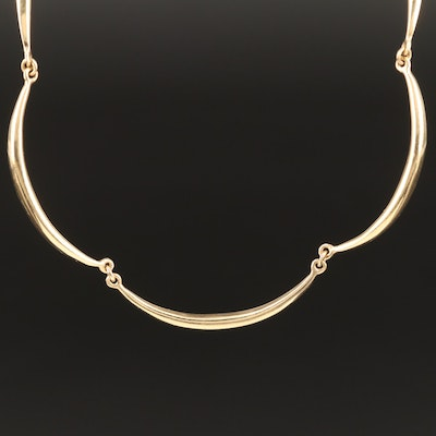 14K Scalloped Link Necklace