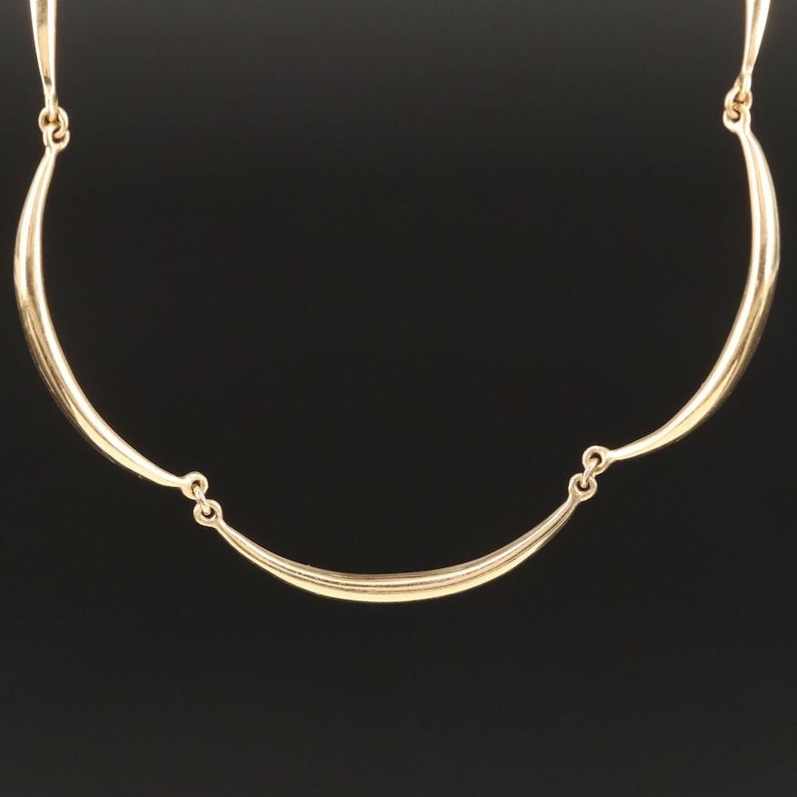 14K Scalloped Link Necklace
