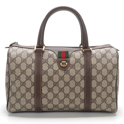 Gucci Accessory Collection Boston Bag in GG Supreme Canvas and Leather