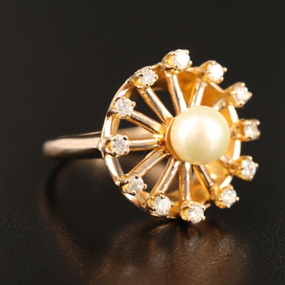 14K Pearl and Diamond Wheel Motif Ring