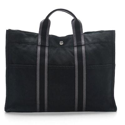 Hermès Paris Fourre Tout MM in Black Canvas