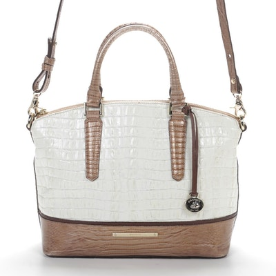 Brahmin Two-Way Satchel in Crocodile and Lizard Embossed Leather