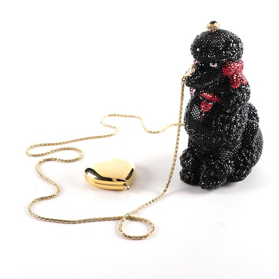 Kathrine Baumann Limited Edition Glass Bead Poodle Purse with Compact