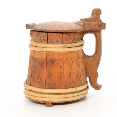 Scandinavian Carved Wooden Ale Tankard, Antique