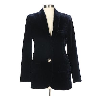 Balmain Paris Dark Blue Velvet Single-Button Blazer
