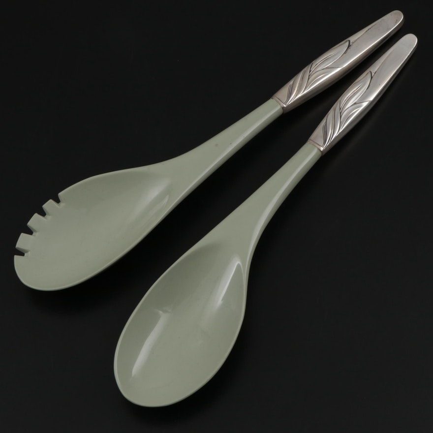 """Towle """"Southwind"""" Sterling Silver and Plastic Salad Serving Set"""