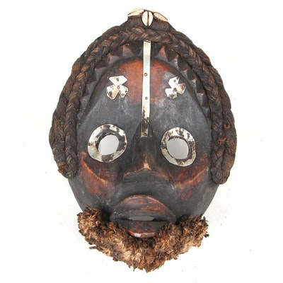 Dan Style Carved Wooden Mask with Metal Embellishments, West Africa