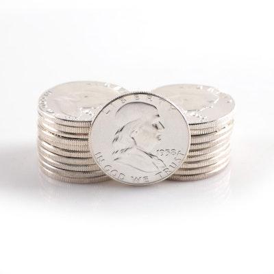 Twenty Uncirculated Franklin Silver Half Dollars, 1958