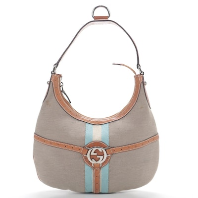 Gucci Reins Webstripe Canvas and Leather Hobo Bag