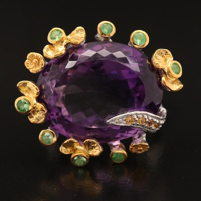 Sterling Silver Amethyst, Sapphire and Diopside Ring with Biomorphic Design
