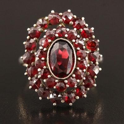 Vintage 800 Silver Garnet Cluster Ring