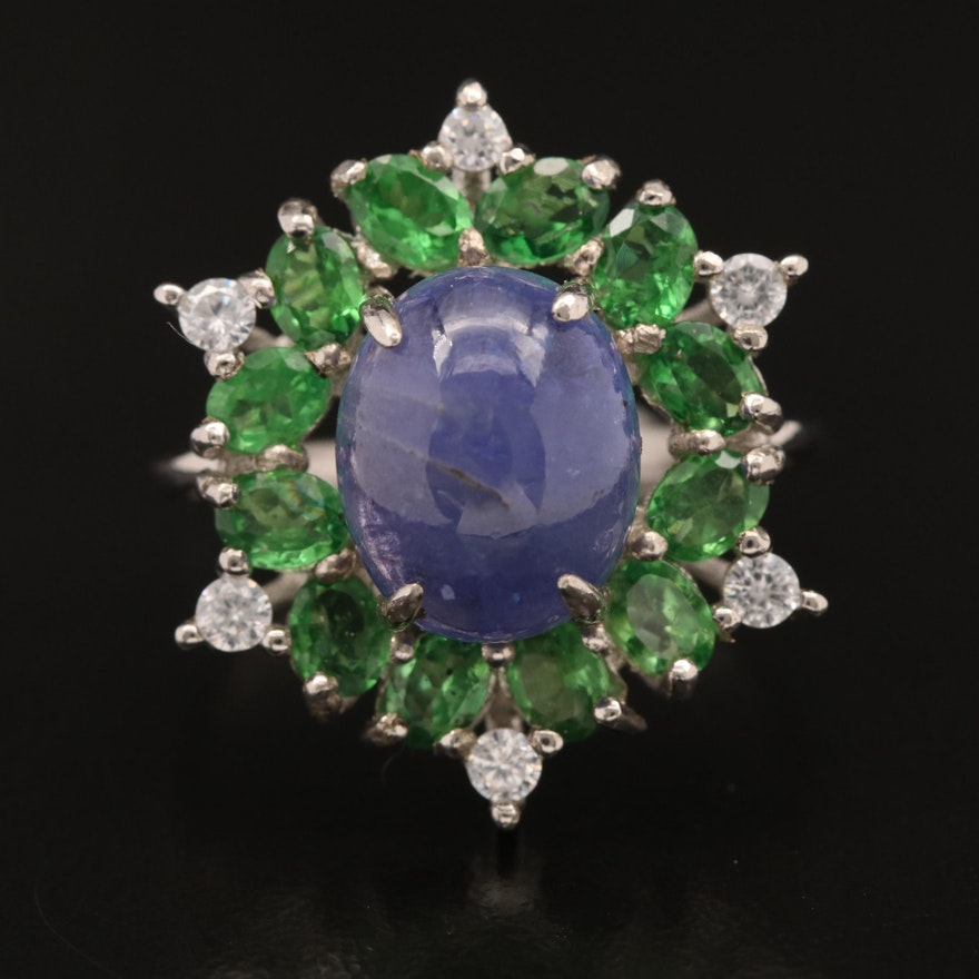 Sterling Tanzanite, Diopside and Cubic Zirconia Ring