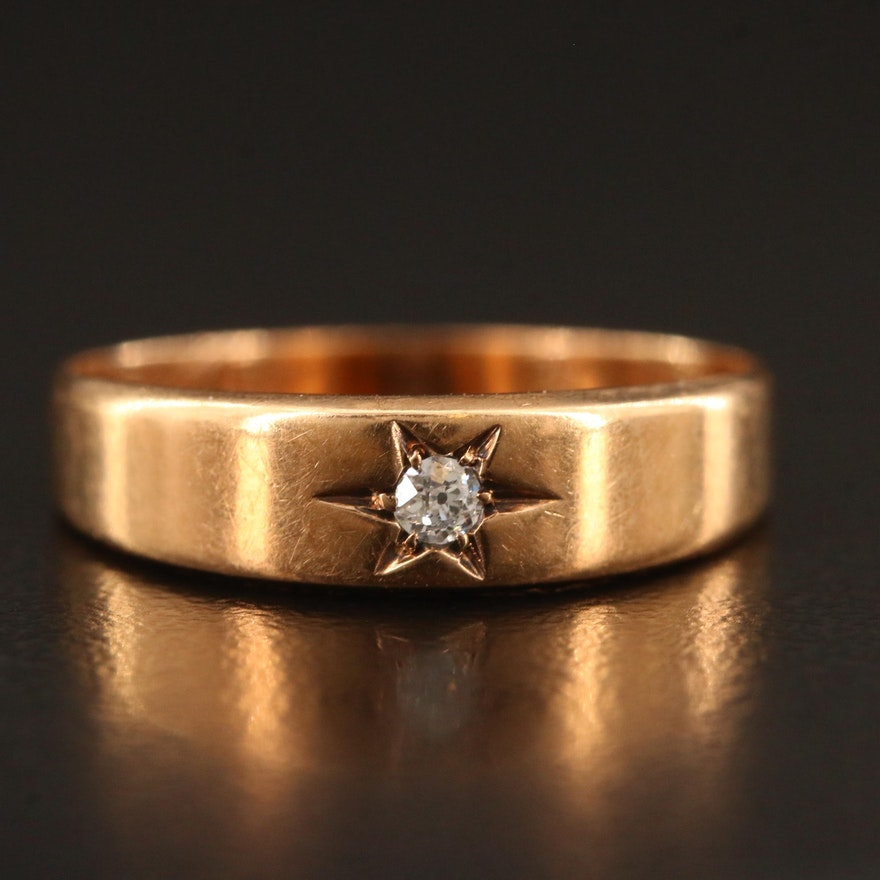 Victorian 14K Diamond Star Set Ring