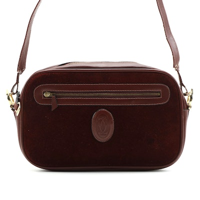 Cartier Must Bordeaux Suede and Leather Camera Bag