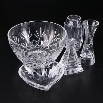 "Lenox ""Charleston"" Cut Crystal Bowl, and Other Crystal Heart Bowl and Vases"