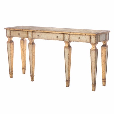 Contemporary Distressed Style Console Table with Glass Top