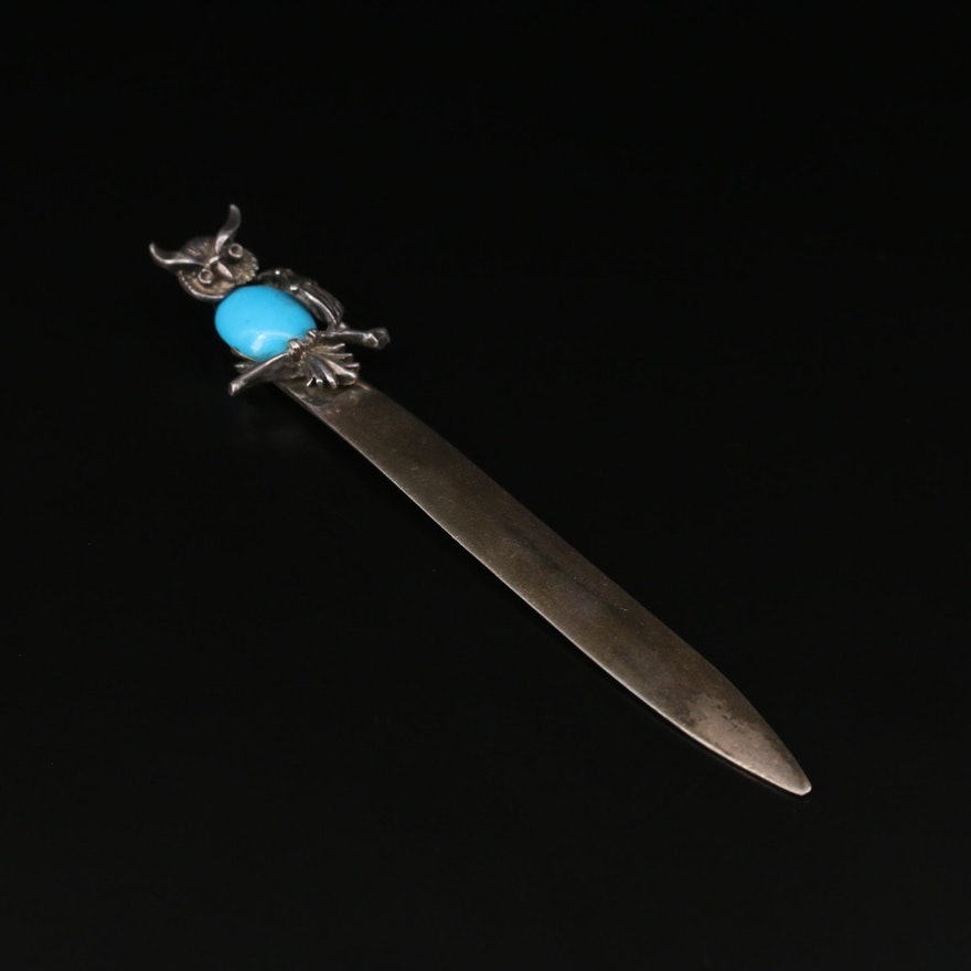 Vintage Mexican 950 Silver Turquoise Owl Motif Letter Opener