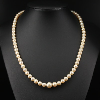 Strand of Graduated Pearls with 14K Diamond Clasp