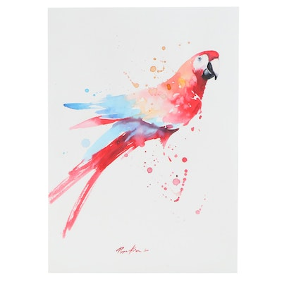 Pippa Kim Watercolor Painting of Macaw, 2020