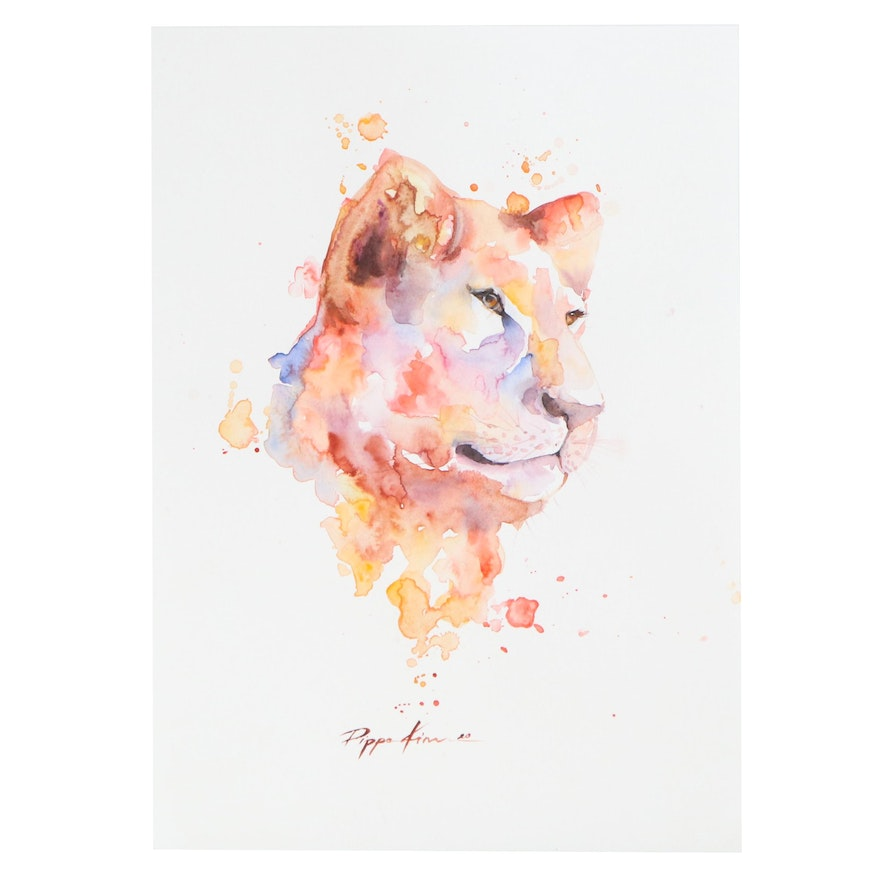 Pippa Kim Watercolor Painting of Female Lion, 2020
