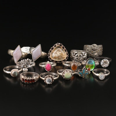 Assortment of Sterling Silver Featuring Rainbow Moonstone and Marcasite Rings