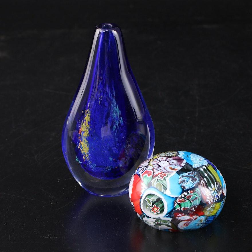 Handblown Bud Vase and Millefiori Orb Paperweight