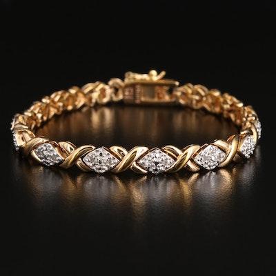 Sterling Silver Diamond X-Link Bracelet