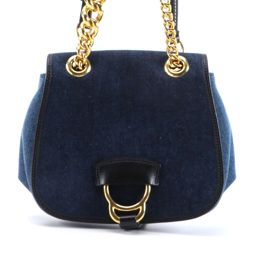 Miu Miu Denim Shoulder Bag with Chain Link and Leather Straps