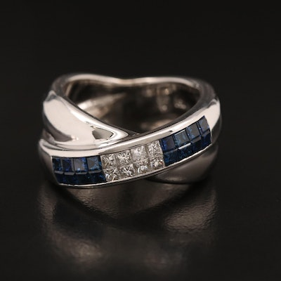 18K Sapphire and Diamond Crossover Ring