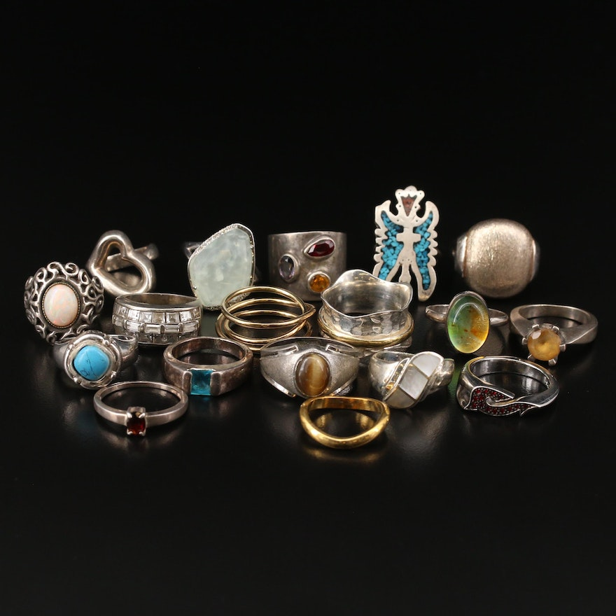 Sterling Ring Assortment with Chip Stone, Mother of Pearl and Cubic Zirconia