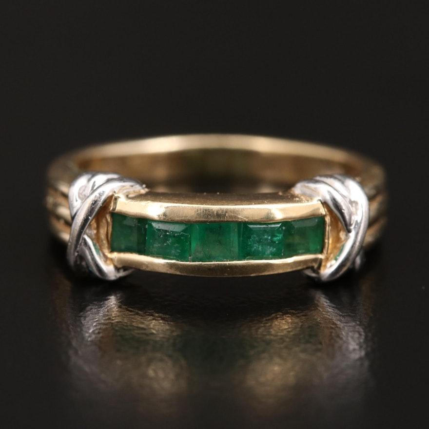 14K Channel Set Square Diamond Ring