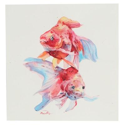 Pippa Kim Watercolor Painting of Colorful Fish