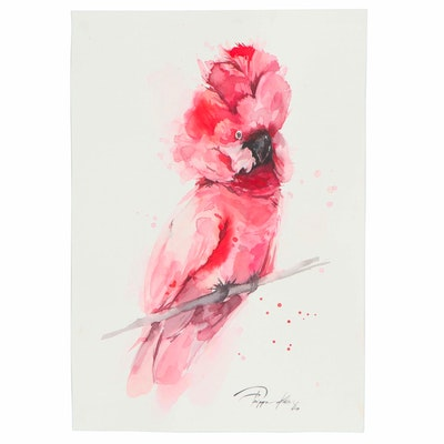 Pippa Kim Watercolor Painting of Pink Cockatoo