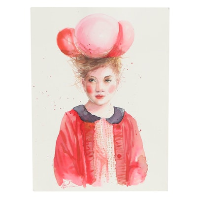 Pippa Kim Watercolor Painting of Girl in Red with Hat, 2020