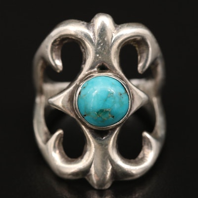 Sterling Silver Sand Cast Turquoise Ring
